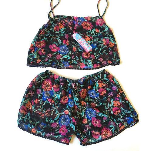 Black Vintage Floral Print Camisole and Shorts set