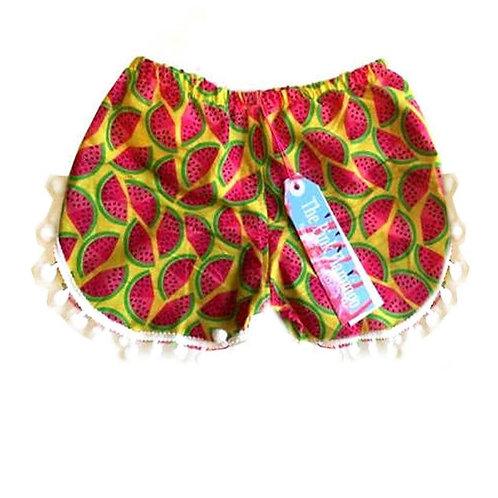 Yellow Watermelon Print Pom Pom Shorts