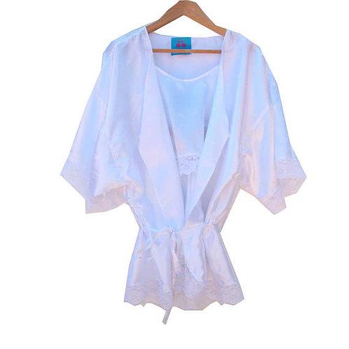 White Satin Lace Trim Kimono