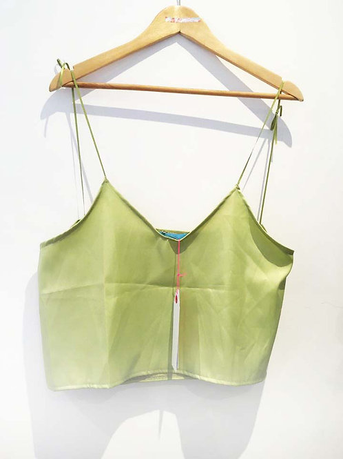 s10 - 12 Pale Green Satin Crop Top with Ties