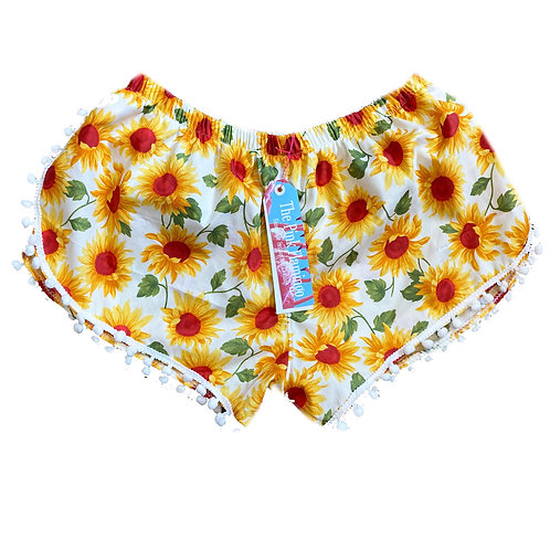 Sunflower Print Pom Pom Shorts