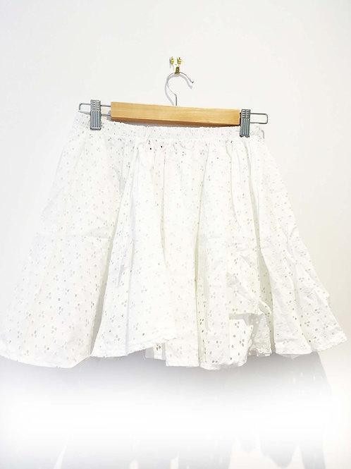 s8 - 10 White Broderie Anglaise Skater Beach Skirt