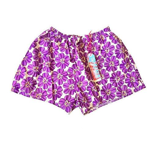 Purple Retro Print Basic HighWaisted Shorts