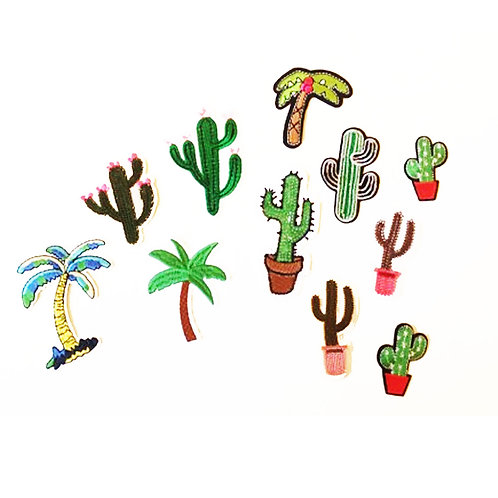 Cactus and Palm Tree Mix Pack of Iron on Patches