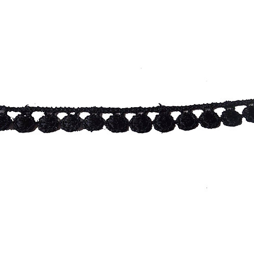 1m Black Guipure Lace Flat Pom Pom Applique Trim 6mm Haberdashery