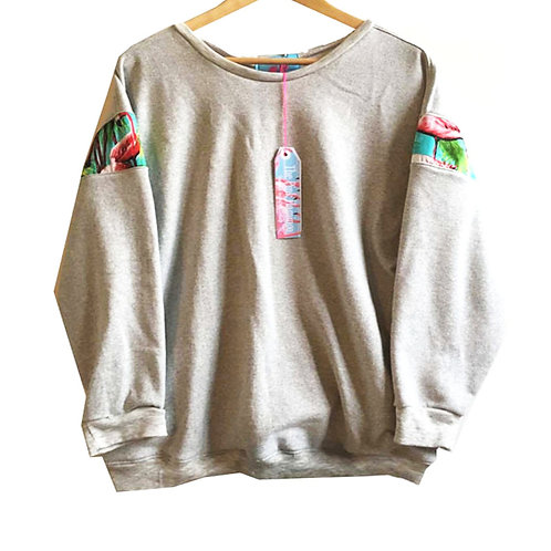Green Flamingo Print Slouchy Sleeved Sweater