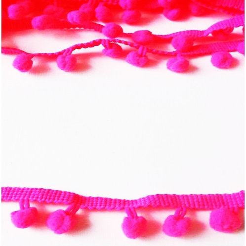 1M Neon Pink Pom Pom Trim 10mm Haberdashery
