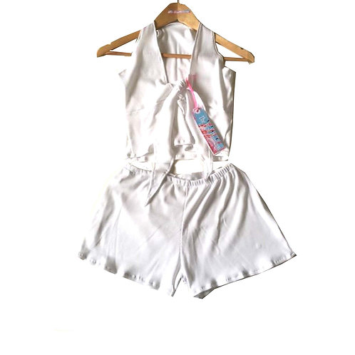 White Ribbed Stretch Jersey Tie Knot Top and Shorts Set