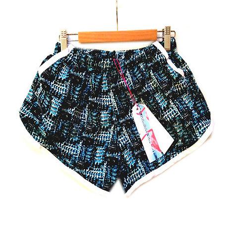 Blue Abstract Print Pocket Sports Shorts