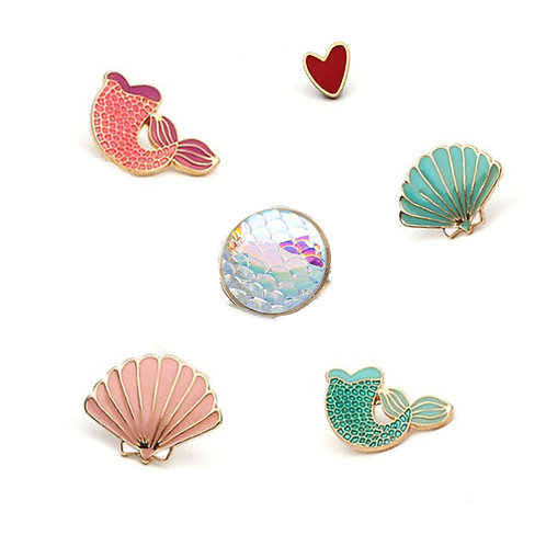 Mermaid themed Pin Badges - Variety