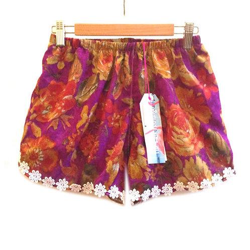 Purple Vintage Print Floral Trim Shorts