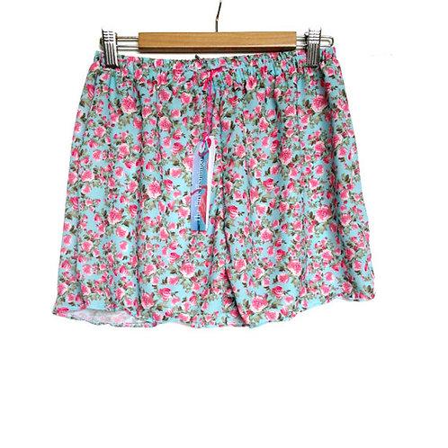 Pretty Vintage Rose Print Crepe Highwaisted Shorts