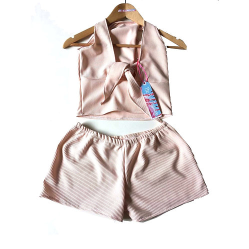 Nude Ribbed Stretch Jersey Tie Knot Top and Shorts Set