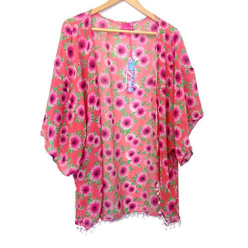 Pink Vintage Floral Print Pom Pom Trim Kimono