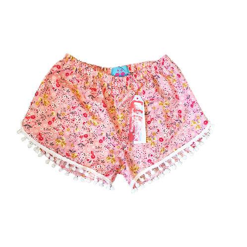 Children's Pink Ditsy Floral Print Pom Pom Shorts