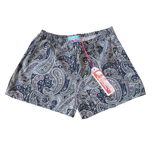 Lilac and Grey Paisley Print Basic Shorts