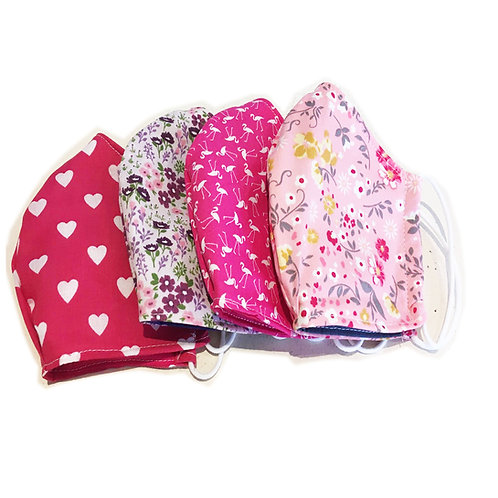 Adult Spring Floral Printed Fabric Masks Rounded or Pleated with Elastic Ear Loo