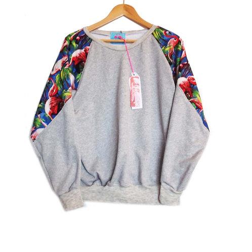 Royal Blue Retro Flamingo Print Raglan Sleeve Slouchy Sweater