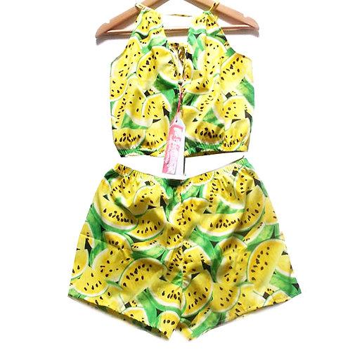 Yellow Retro Watermelon Print Keyhole Top and Shorts Set
