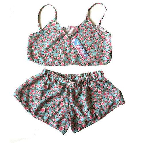 S 10-12 Pretty Vintage Rose Print Crepe Shorts front