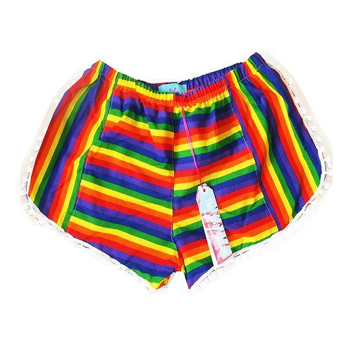 Retro Rainbow Print Pom Pom Shorts