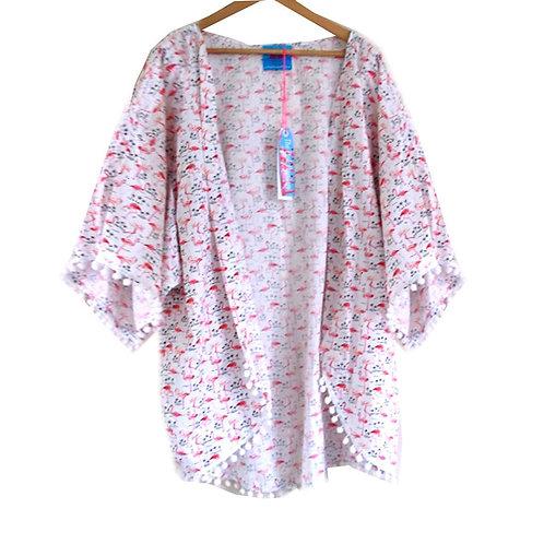 Pretty Pink Flamingo Print Slouchy Kimono