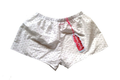 s6-8 White Broderie Anglais Basic Shorts
