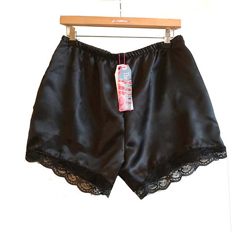 Black Satin Shorts with Floral Lace Trim