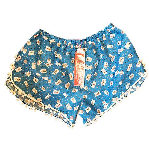 Blue Floral + Stamp Print Pom Pom Shorts