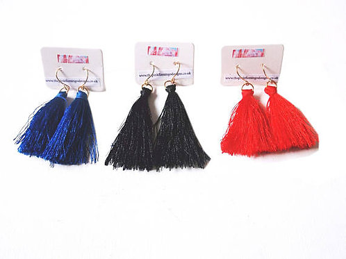 Simple Tassel Drop Earrings Black