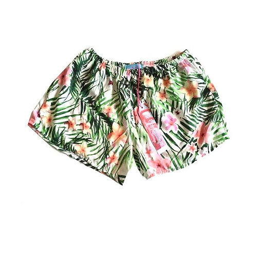 Pastel Tropical Leaf Print Basic Shorts
