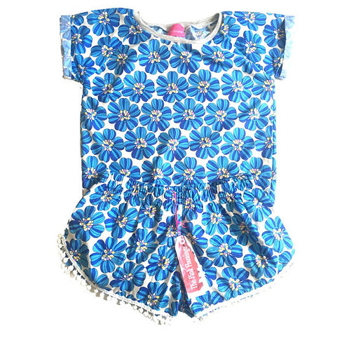 Sky Blue Retro Floral Print Tee and Pom Pom Shorts Set