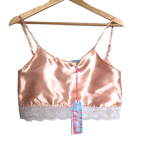 Nude Satin Camisole with Floral Lace Trim