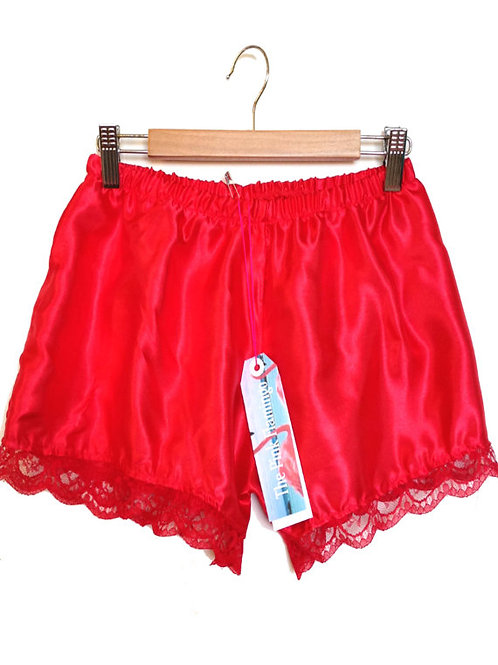 Red Satin Shorts with Floral Lace Trim