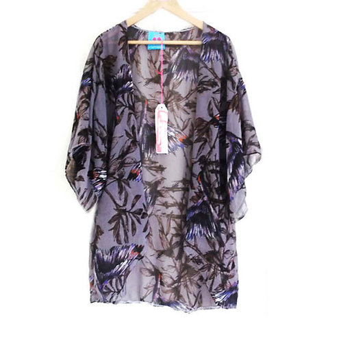 Purple Perch Bird Print Chiffon Slouchy Kimono
