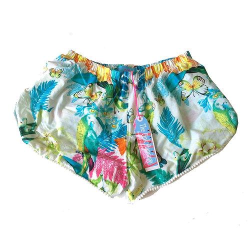 Blue and Green Tropical Bird Print Pom Pom Shorts