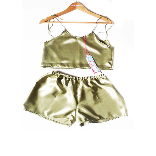 Pale Green Satin Camisole and Shorts Set