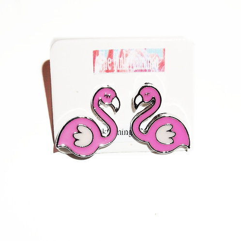 Cute Pink Flamingo Stud Earrings