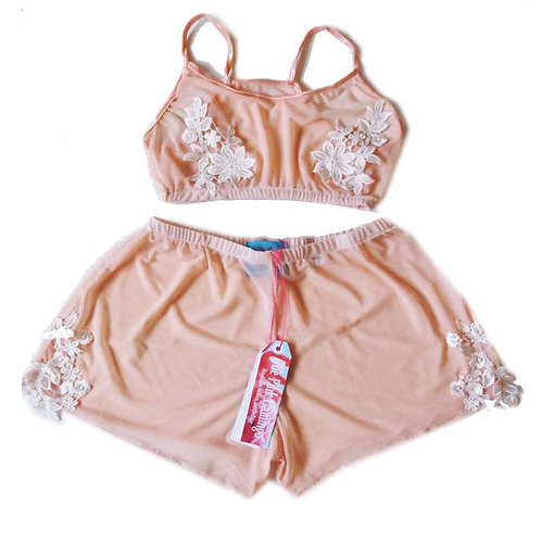 Nude Mesh and Floral Applique Trim Bralet and Shorts set