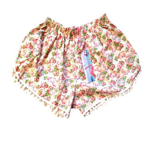 White Flamingo Vintage Print Pom Pom shorts