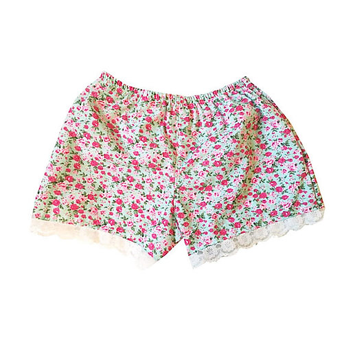 Blue and Pink Rose Print Lace HighWaisted Shorts