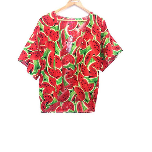 Girls Red Watermelon Print Kimono