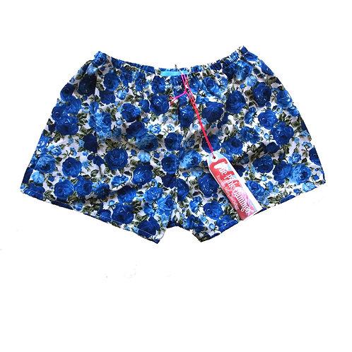 Royal Blue Rose Print Highwaisted Shorts