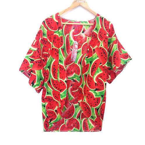 Retro Watermelon Print Slouchy Kimono