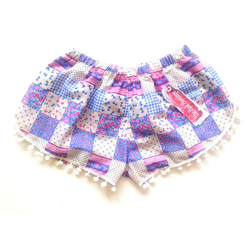 Lilac and Blue Gingham Pom Pom Trim Shorts