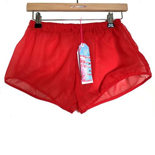 Red Chiffon Satin Trim Shorts