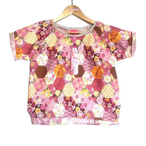 """Pink Patchwork """"Spring"""" Floral Print Raglan Sleeve tee"""