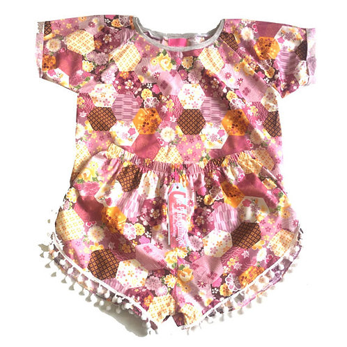 "Pink ""Spring"" Floral Patchwork Tee and Pom Pom Shorts Set"