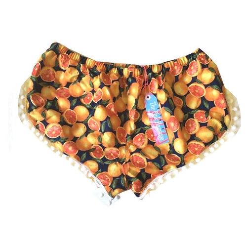 Navy and Orange Print Pom Pom Shorts
