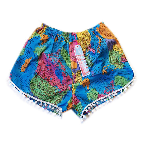 Bright Blue Map of the World Print Pom Pom Shorts